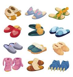 House slippers set soft comfortable slip on shoe vector