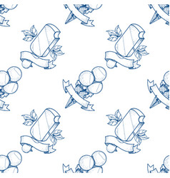Ice cream outline seamless pattern for design vector