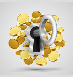 key to the lock with coins vector image