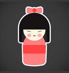 Kokeshi doll flat icon vector