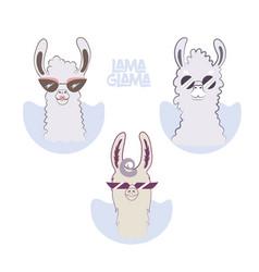 lama glama cartoon set for your design vector image