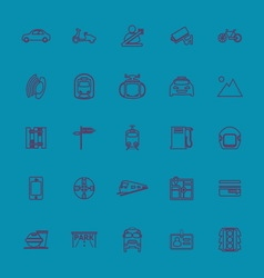 Land transport related line color icons vector