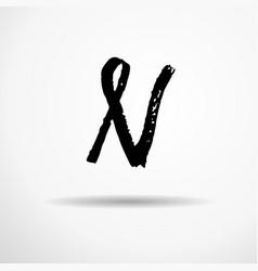Letter n handwritten by dry brush rough strokes vector