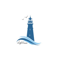Lighthouse logo hand drawn sketch symbol of vector