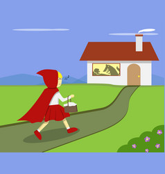 Little red riding hood go to grandmas house vector