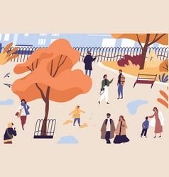 men women and children walking in autumn city vector image