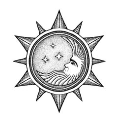 Moon with stars - stylized as engraving vector