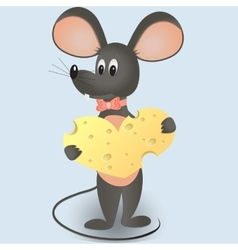 mouse with cheese in the form of heart vector image