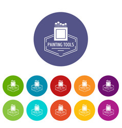 Painting tool icons set color vector
