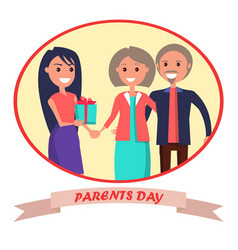 Parents day banner showing happy family vector