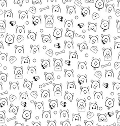 Pattern of little heads of dogs with different vector image