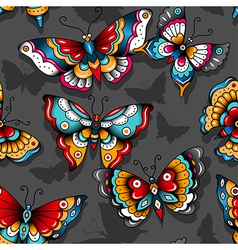 Pattern tattoo butterflies vector