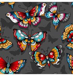 Pattern tattoo butterflies vector