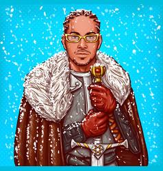 Pop art a medieval knight vector