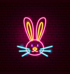 Rabbit animal neon sign vector