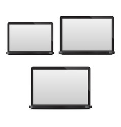 realistic 3d detailed laptop computer pc set vector image