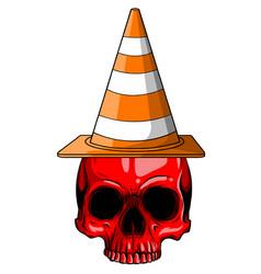 realistic red skull for designer on vector image