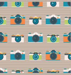 retro cameras stripe seamless pattern vector image