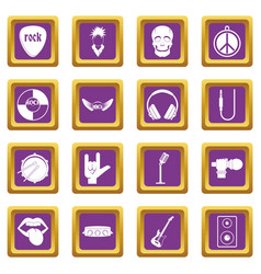 Rock music icons set purple vector
