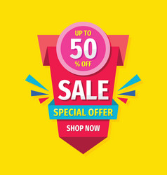 sale concept banner design discount up to 50 perc vector image