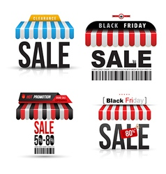 Sale with roof shop set vector image