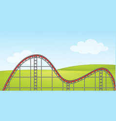 Scene with empty roller coaster track in park vector