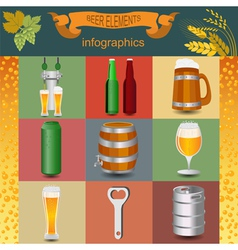 Set icons beer equipment for creating your own vector image