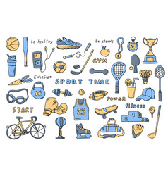 set sport elements with lettering cute doodle vector image