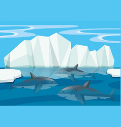 Sharks swimming under the sea vector