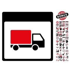 Shipment Truck Calendar Page Flat Icon With vector