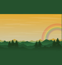 silhouette of hill with rainbow landscape vector image