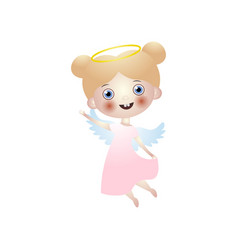 smiling cute angel kid with white wings in dress vector image