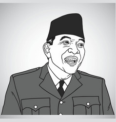 Soekarno portrait drawing vector