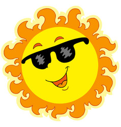 Spring sun with sunglasses vector