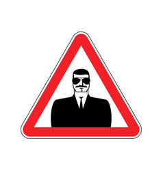 Spy warning sign red secret agent hazard vector
