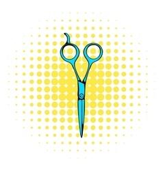 Steel scissors icon comics style vector