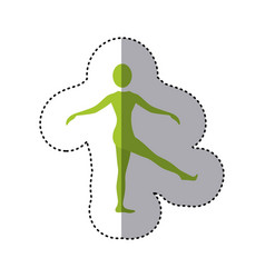 sticker green silhouette woman standing stretching vector image