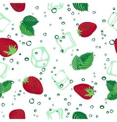 Strawberry mojito seamless pattern on white vector