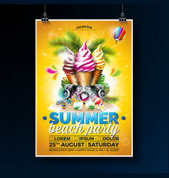 Summer beach party flyer design with ice vector