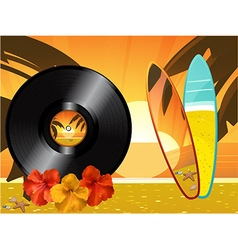 Summer sunset background with vinyl record surfing vector
