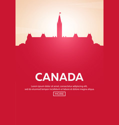 Travel poster to canada landmarks silhouettes vector