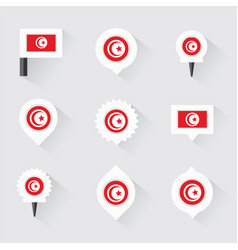 tunisia flag and pins for infographic and map vector image