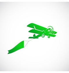 Vintage Plane With Banner Symbol Icon vector
