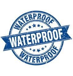 Waterproof round grunge ribbon stamp vector