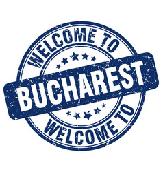 Welcome to bucharest blue round vintage stamp vector