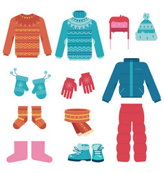 winter clothes set with vector image