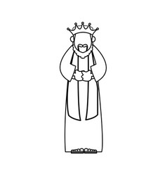 Wise king manger character bible image outline vector