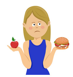 woman chooses between junk food and healthy diet vector image