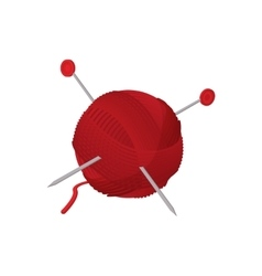 Yarn ball with needles cartoon icon vector
