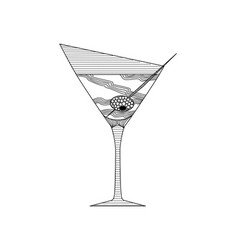 Zenart style martini glass with olive on a skewer vector